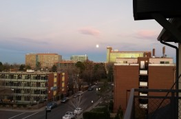 Full moon rising east of Brent's Place in Denver.